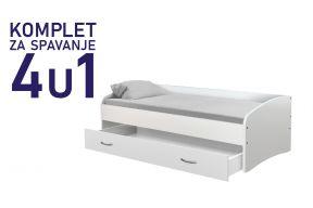 Комплет за спиење со фиока 200х90 бел, кревет Јуниор,душек,подница