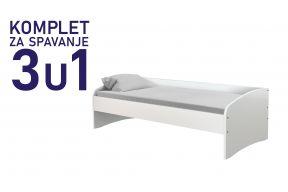 Комплет за спиење во димензија 200х90 бел, кревет Јуниор,душек, подница