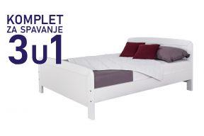 Комплет за спиење  во димензија 200х160 бел, кревет Матеа,душек, подница