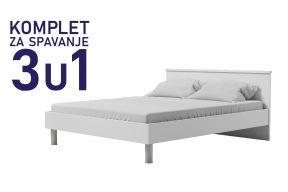 Комплет за спиење во димензија 200х140 бел-Паола кревет, душек, подница