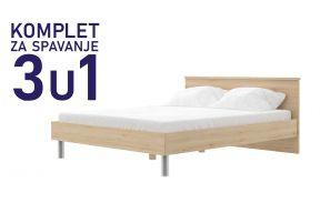 Комплет за спиење во димензија 200х140 сан ремо-Паола кревет, душек, подница