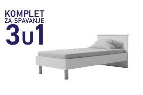 Комплет за спиење во димензија 200х90 бел-Паола кревет, душек, подница