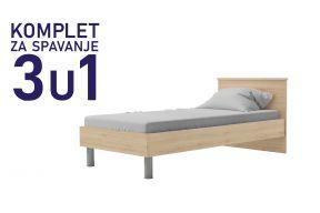 Комплет за спиење во димензија 190х90 сан ремо-Паола кревет, душек, подница