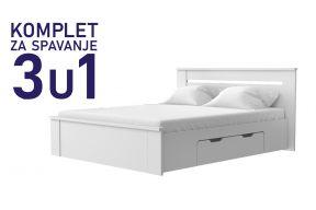 Комплет за спиење во димензија 200х160 бел-Паола кревет со 2 фиоки , душек, подница